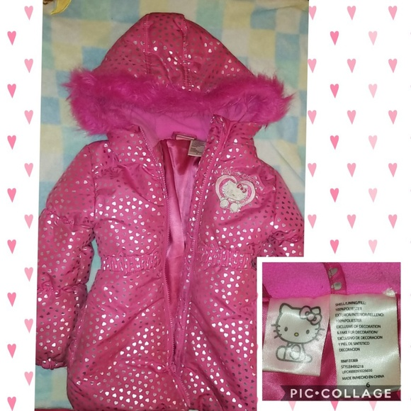 Hello Kitty Baby Girls All Over Printed Puffer Jacket with Fur Trim Hood Down Coat Baby Girls 0-24m Coats, Jackets & Gilets